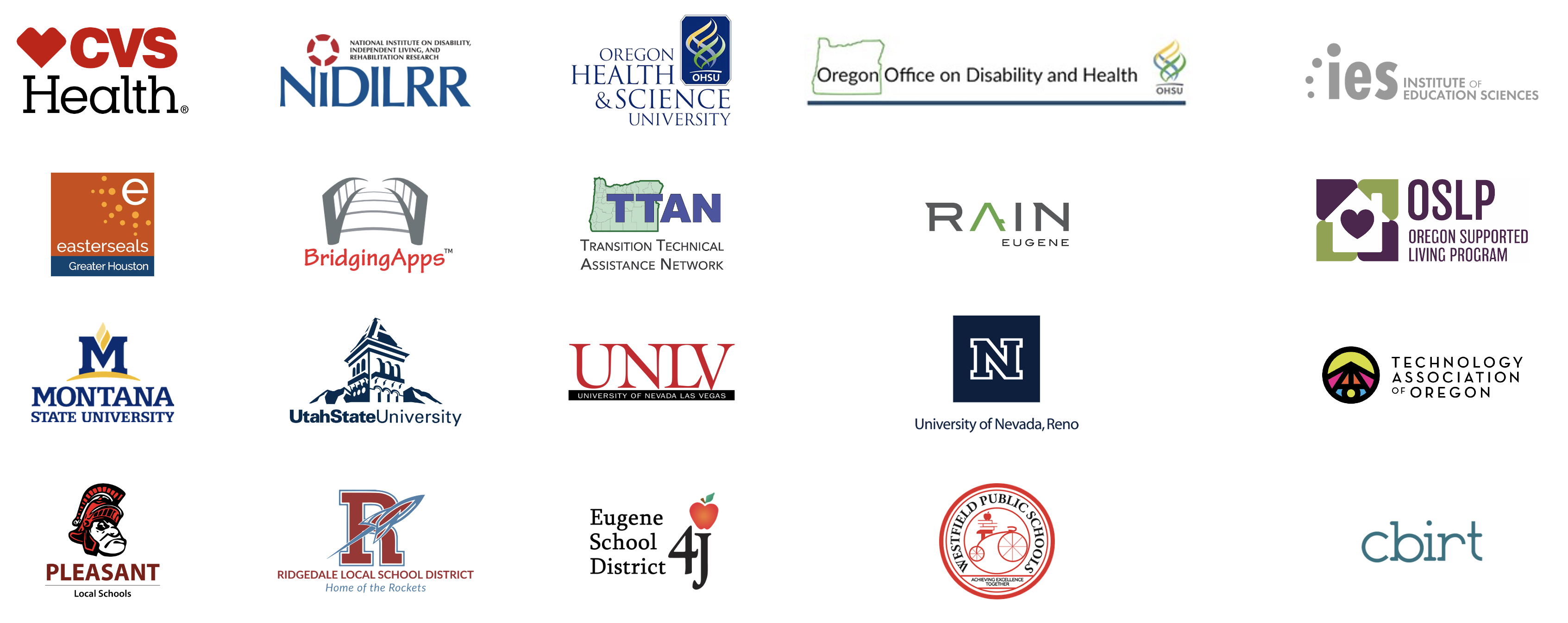 An Image showing logos of Cognitopia Partners, such as CVS Health, Oregon Health Science University, Easterseals, Universities, and school districts